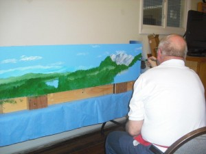 Backdrop Painting Class mountains Paul Lodge