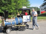 2015 9-12 Greene Village Day Parade, Dan Coulombe inside the train; Tom outside.jpg